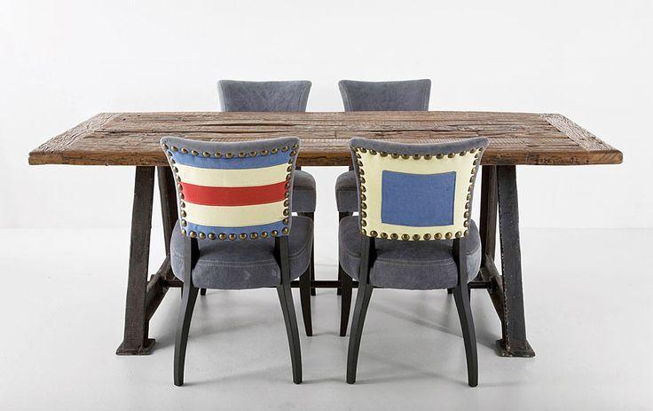 Comedor railway material madera de fresno mesa realizada for Muebles industriales madrid