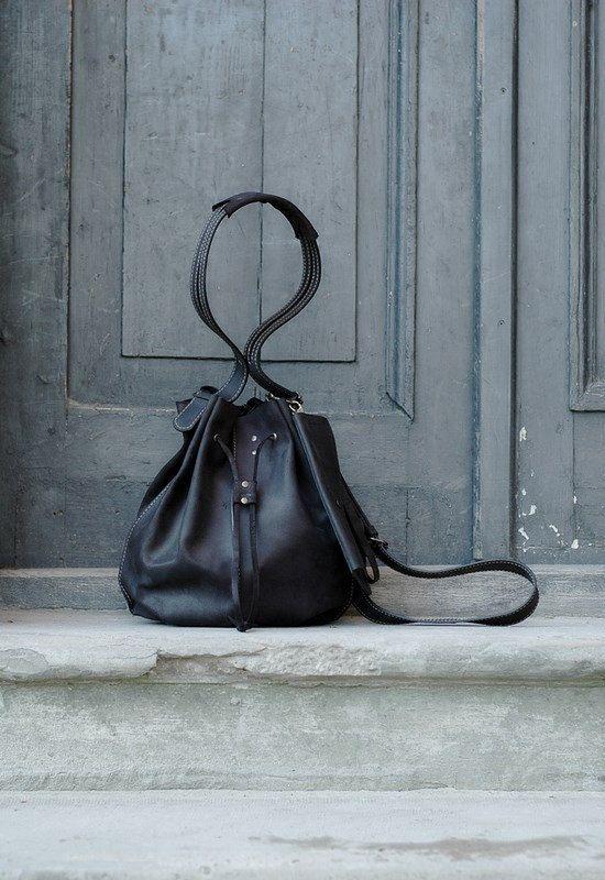 BLACK leather woman bag baggy shape Maja 2 Ladybuq art by ladybuq