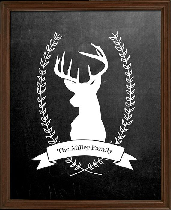 Personalized Chalkboard Reindeer - personalized with your family name!