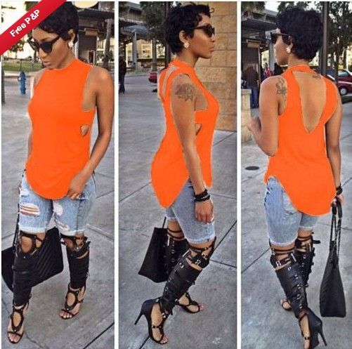 Sleeveless Backless Plus Size Forked Tail T-shirt