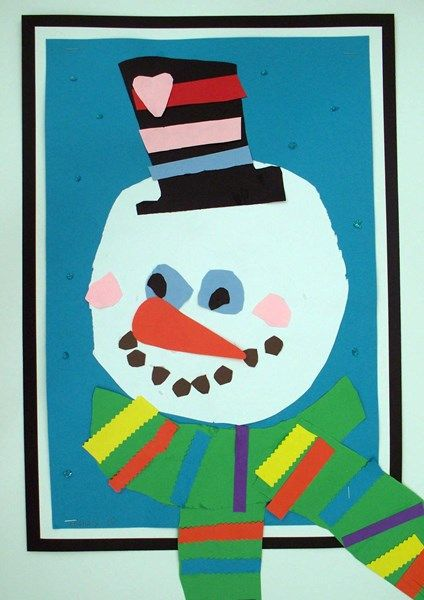 snowman portraits tie to: portraits or collage, patterns on scarf Artsonia Art Museum :: Artwork by Zachary7663