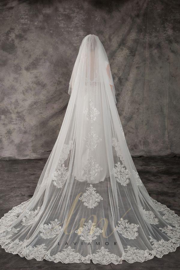 Custom Church Length Cathedral Bridal Veil With Blusher Tsdz051 Long Veil Wedding Cathedral Bridal Veils Lace Veils