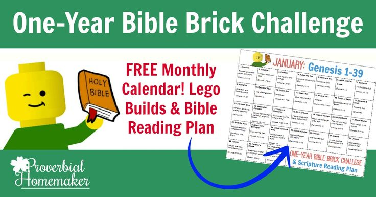 I am so excited to share with you the first calendar for our One-Year Bible Brick Challenge! We're kicking off a whole year of simple Lego challenges and scripture readings that will take us through a survey of the Bible in a year. You can use it as a fun supplement to your own studies, as a fun family devotion, or as a personal Bible reading planfor older kids. Find more information and tips about different ways to use the One-year Bible Brick Challenge here.  Of course, we're begi...