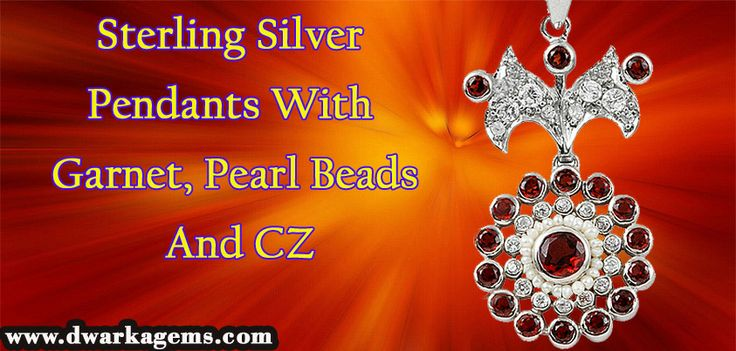 Sterling Silver Pendants with Garnet, Pearl Beads & CZ