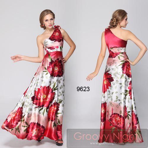 情熱のスペインレッドが映える 大胆な花柄が魅力のロングドレス♪ - ロングドレス・パーティードレスはGN|演奏会や結婚式に大活躍!