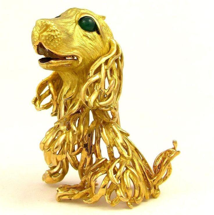 Retro French 18K Yellow Gold 3D DOG Brooch Fur Clip Emerald Cabochon Eyes, 21.9g