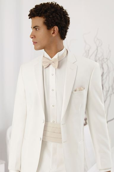 Jean Yves - Ivory Monte Carlo - Gold Collection   This Ivory jacket features a classic satin notch lapel.  Available with pleated pants.    Style Number: 150HM