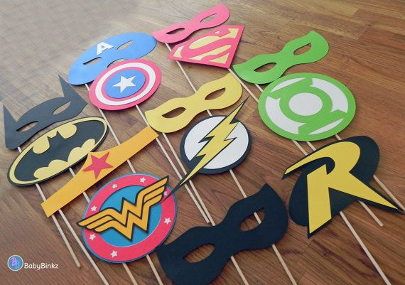Photo Props: The Superhero Mask  Logo Set (14 Pieces) - party wedding birthday die cut superhero mask superman america batman wonder woman