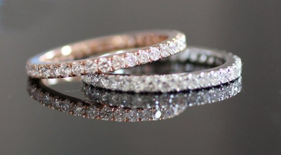 Pair of rose gold and white gold stackable diamond rings