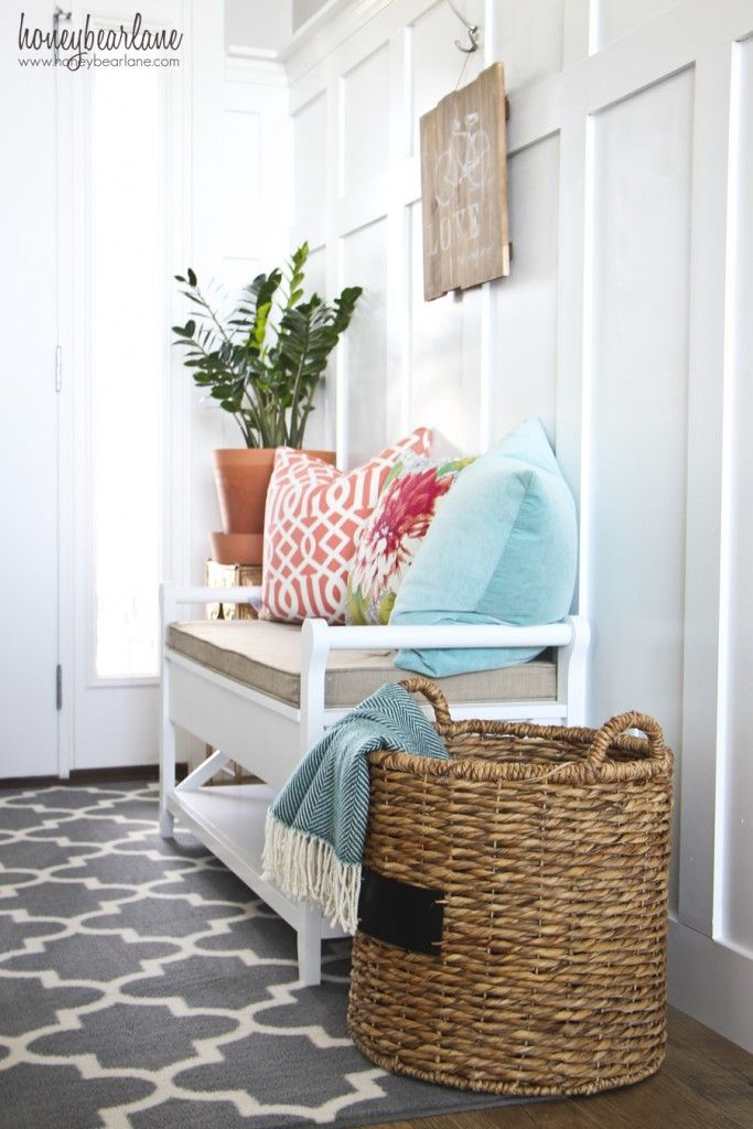 Honeybearlane Highlights Her Threshold Vincent Entryway Bench With Geometric Prints And Luxurious Textures Get