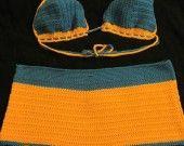 maillots de bain- shorty orange et bleu en crochet 2 pièces : Autres mode par jennaye-g