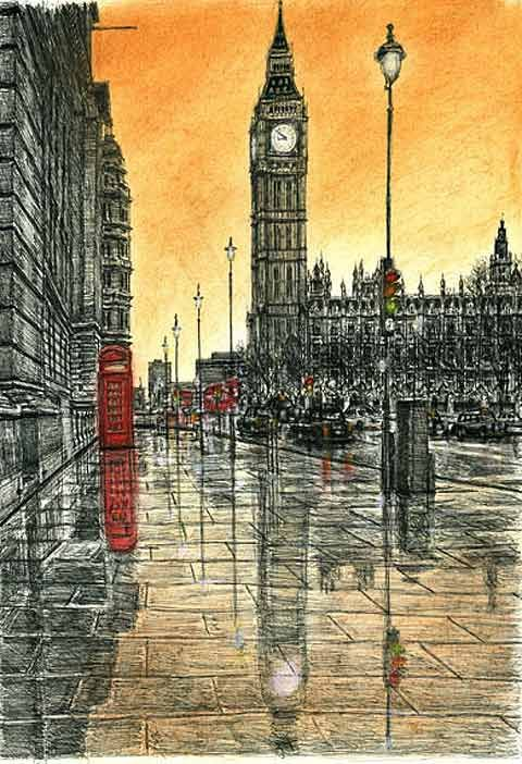 Autistic artist Stephen Wiltshire pen and ink drawings. Amazingly drawn from memory.