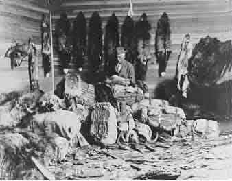 "Antique photo of ""the fur trade"", early life in the wilderness,"
