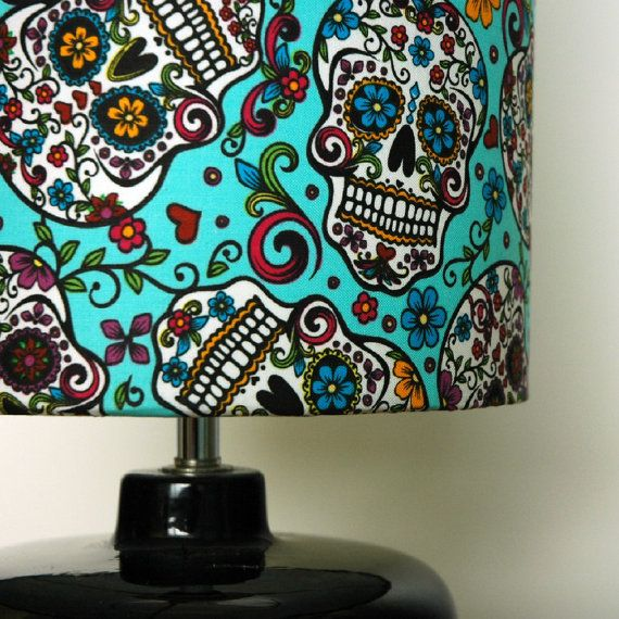 Skull Print Drum Lampshade by OhSusannahx on Etsy, £28.00