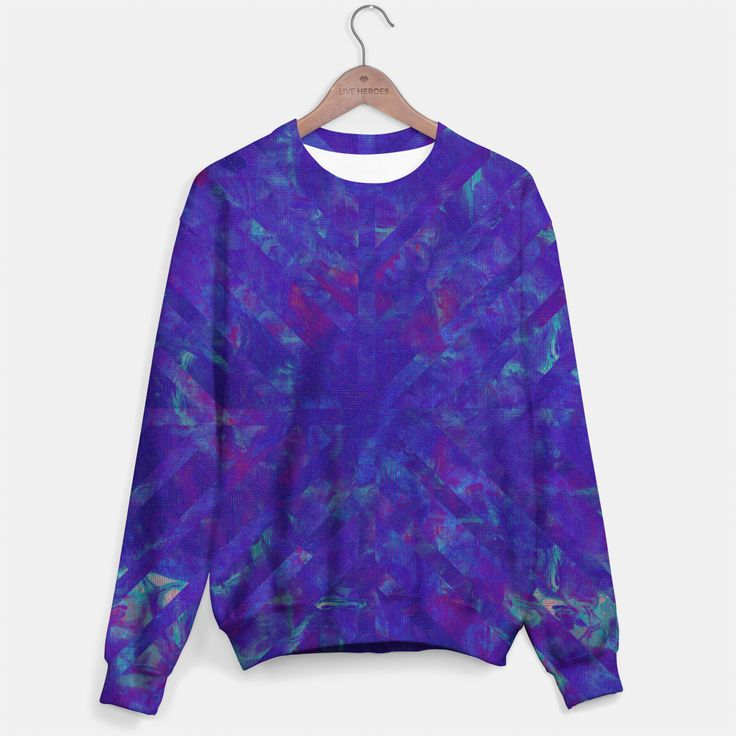 Painted Geometry 1 Sweatshirt by Fimbis  _________________________________ purple, violet, ultra violet, stripes, cyan, fluid art, fluid painting, apparel, mens wear, women wear, kids wear, fashionista, fashion, style, colour of the year, color of the year, sweater,