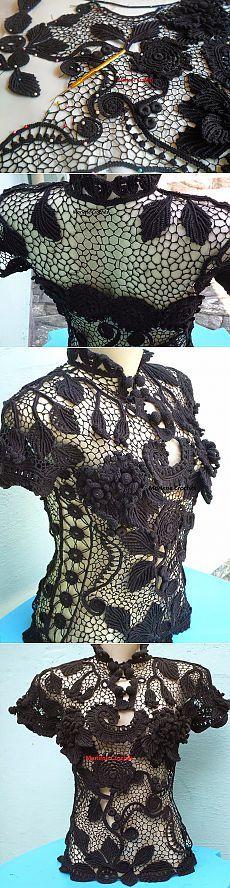 Марлен Crochês: Блузка апарт- Renda Ирландской Мерсер!!!!