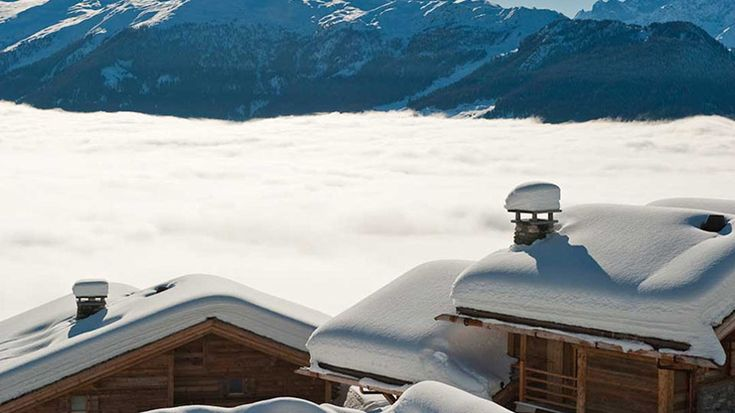 Day View to Verbier Ski Slopes Over the Fog