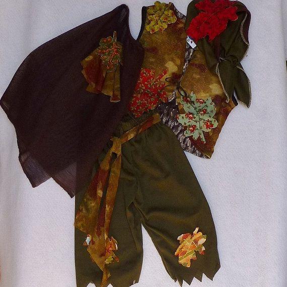 Boy's Woodland Elf, Gypsy or Bohemian Costume, Cape, Pants, Bandana, Vest, OOAK, Size 2, Ready to Ship Now