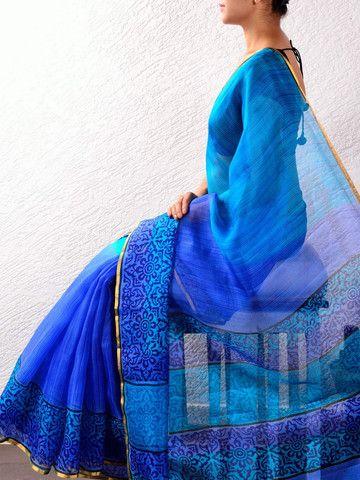 Blue Kota Silk Hand Painted Saree