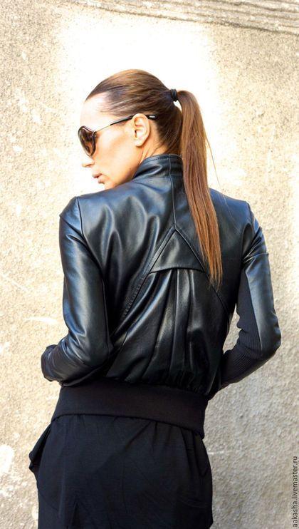 Куртка кожаная на молнии дизайнерская куртка короткая из кожи черная куртка стильная одежда городской стиль