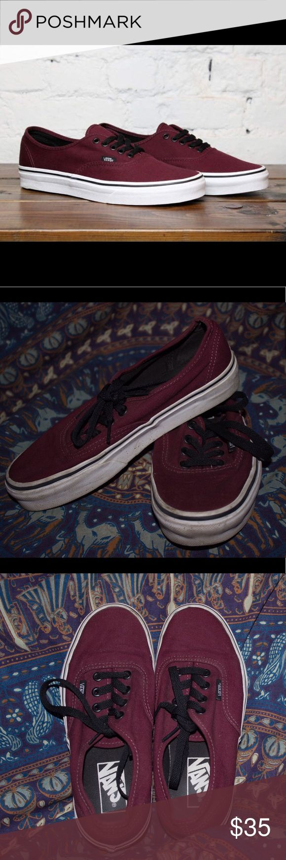 Classic Maroon Vans *PRICE DECREASE* Gently used maroon vans! The sides are kind of dirty but nothing a quick cleaning can't fix! Vans Shoes Sneakers