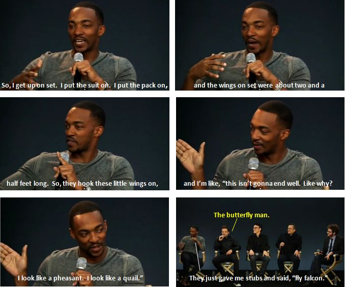 "Anthony Mackie /// Hahahahaha this....this is great xD  ""Butterfly man""..."