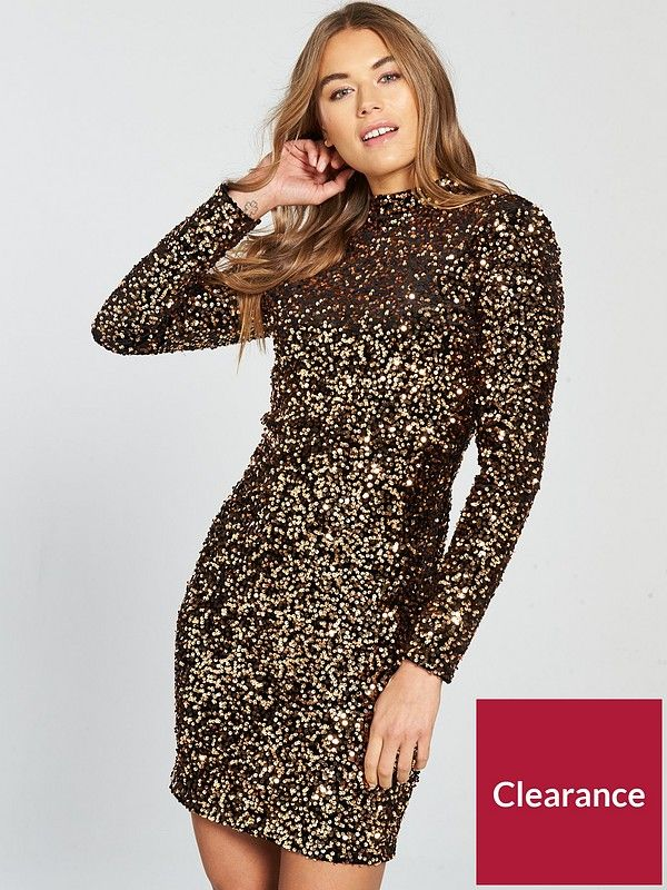 427c384e75d8 Warehouse Velvet Sequin High Neck Dress - Bronze in 2019 | Clothes ...
