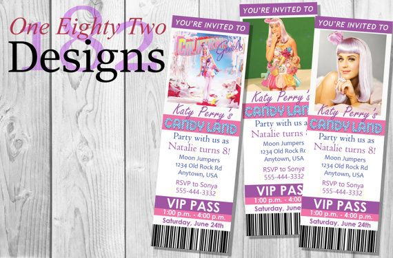 Katy Perry ticket style invites invitations by OneEightyTwoDesigns on Etsy