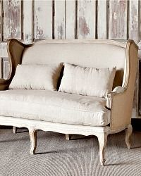Park Hill Collection Country Linen & Burlap Wingback Settee
