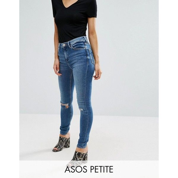 ASOS PETITE Ridley Skinny Jeans in Darmera Mid Stone Wash with Busted... ($24) ❤ liked on Polyvore featuring plus size women's fashion, plus size clothing, plus size jeans, blue, petite, skinny jeans, high waisted ripped skinny jeans, destroyed skinny jeans, high waisted distressed jeans and high rise skinny jeans