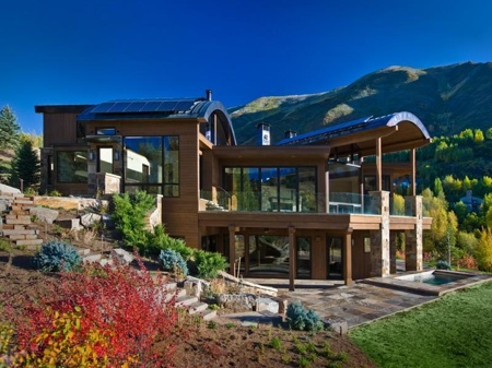 Two acre estate in Aspen, Colorado. Situated on the Ridge of Red Mountain overlooking Aspen Mountain, Independence Pass and the entire valley, this 35 million dollar property for sale is 11,300 square feet complete with five bedrooms, eight baths, four fireplaces, and three-car garage. It also boasts a 1600 bottle wine cellar, gym, movie theater, gourmet kitchen, resistance pool and multiple outdoor decks.  And a five bedroom guest house!