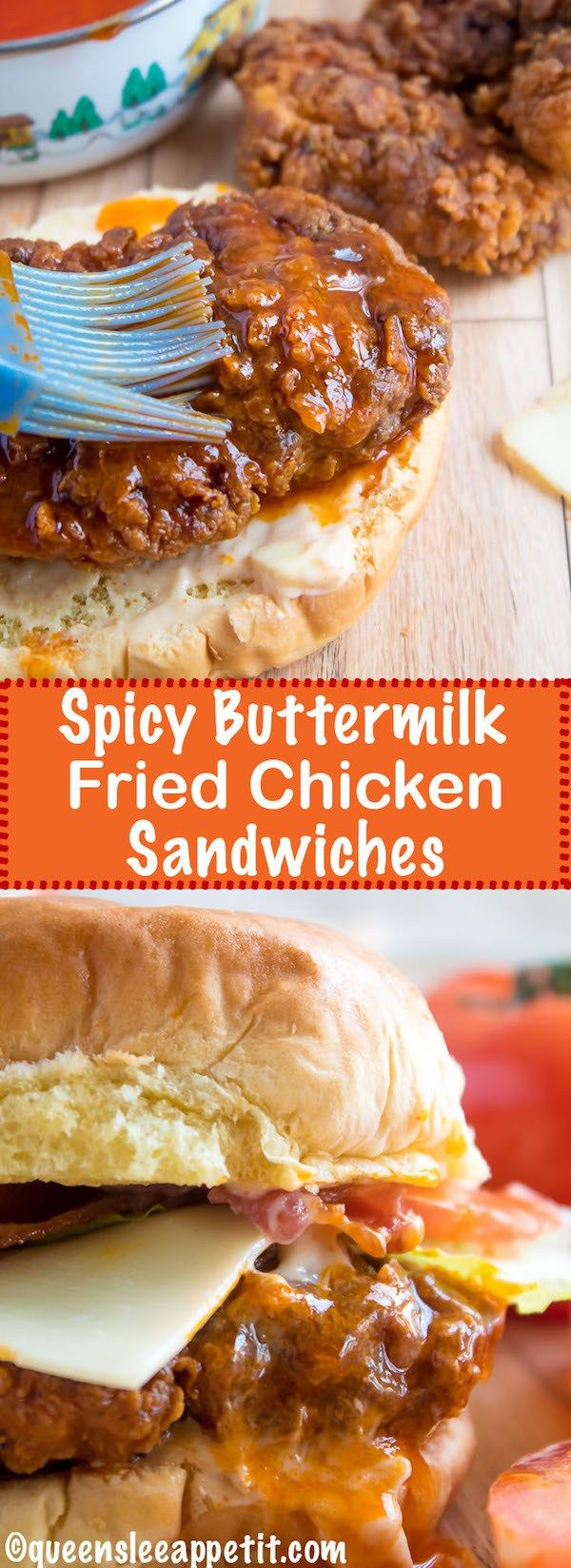 These Spicy Fried Chicken Sandwiches are crispy, juicy and seasoned to perfection. Sandwiched between toasted brioche buns, fresh lettuce, tomatoes, mozzarella, crispy bacon and a flavourful spicy aioli — these fried chicken sandwiches are comfort food at its best!