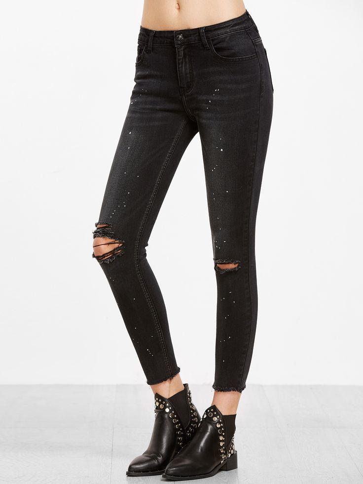 Jeans de cheville imprimé éclaboussure de peinture déchiré -noir -French SheIn(Sheinside)