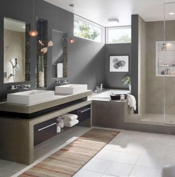 Minimalist Monochrome Bathroom Modern Bathroom Colors Dark Gray Wall Paint Tile Floor Modern Bathroom Colours Minimalist Bathroom Design Modern Bathroom Design