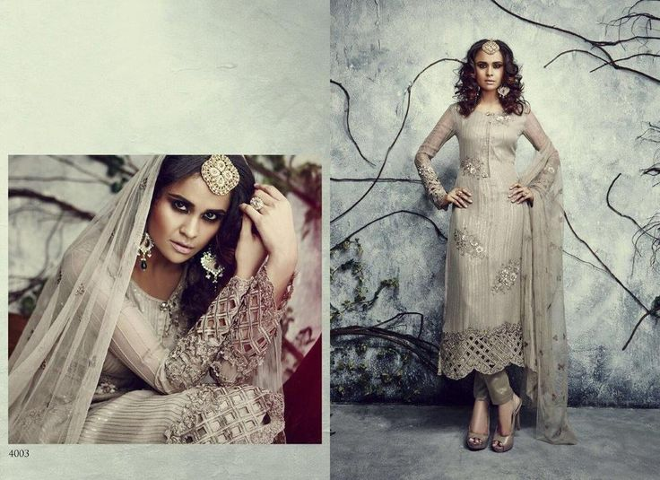 Grey Designer Salwar Suit Anarkali Indian Pakistani Dress Party Style Bollywood…