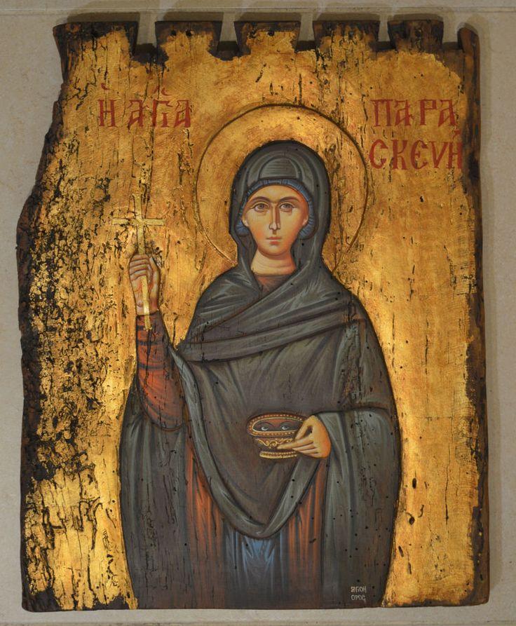 Orthodox Icon Greek Byzantine Saint Praskeva Friday Old Wood 19th century