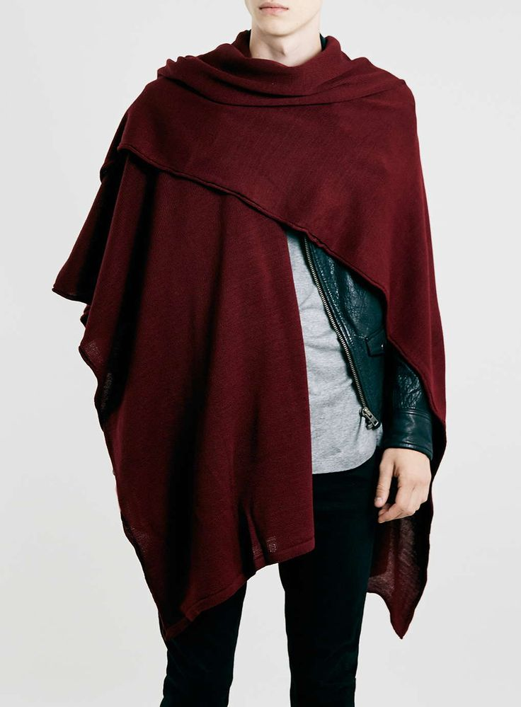 Burgundy Lightweight Cape - Men's Jumpers & Cardigans - Clothing - TOPMAN