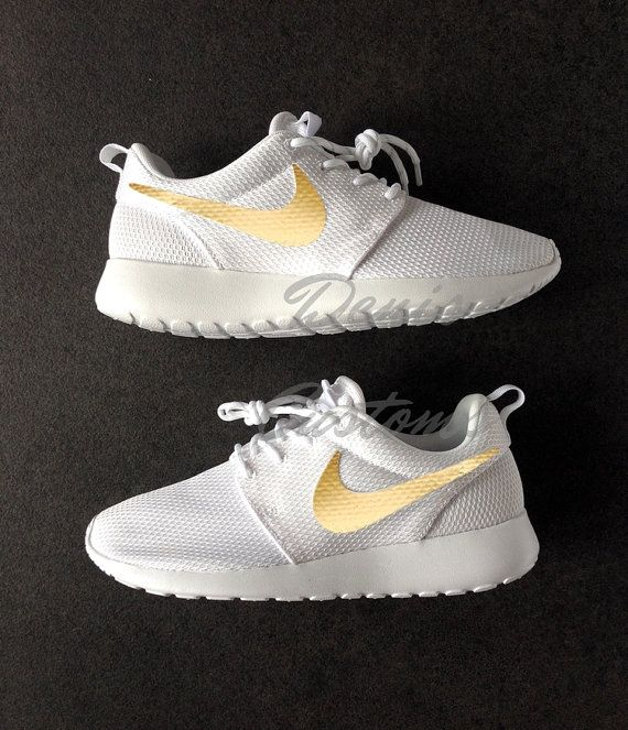 on sale cbc44 c2fe0 Nike Roshe White with Custom Gold Swoosh Paint   Shoes   Nike shoes, Nike  roshe, Nike roshe run