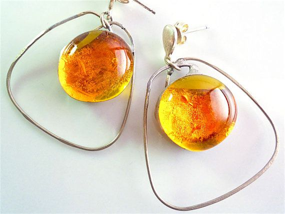"""Orange earrings fused glasssterling silver silver by Dartisanglass  FOR YOU ONLY! code""""PINTERESTFRIEND"""" -20%until31march!!!"""