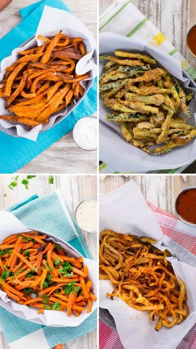 Have your fries and eat them too with four healthy snacks made with sweet potato, zucchini, carrot and jicama.