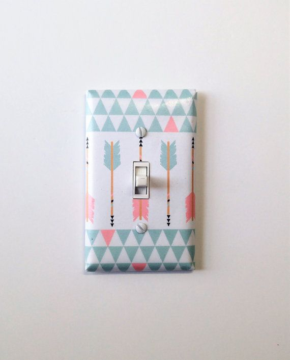 mint and pink arrows light switch cover tribal arrows room decor pink nursery mint nursery teen bedroom aztec girls wall decor