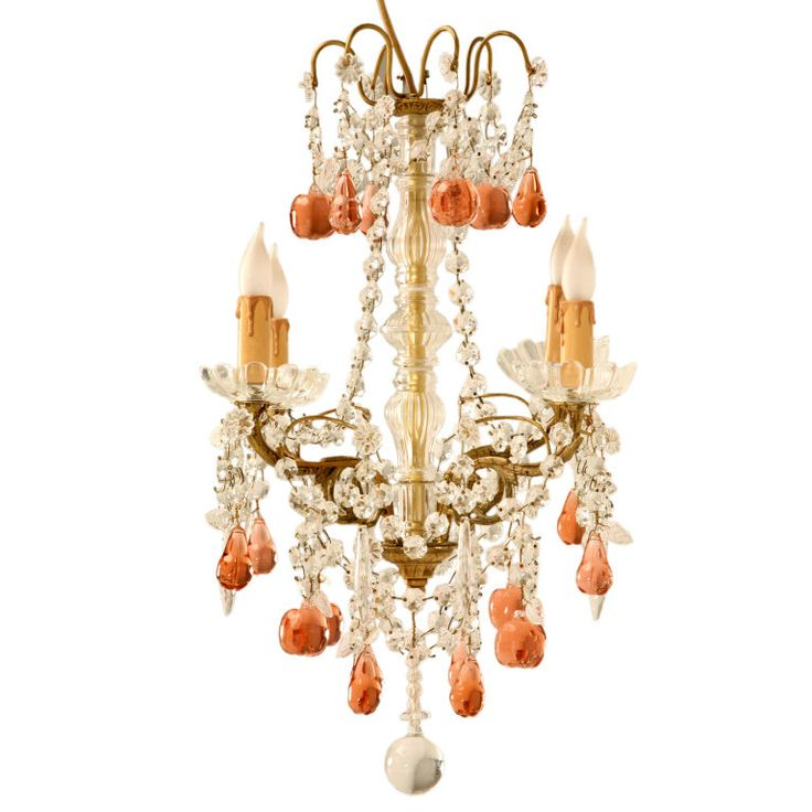 Petite Dusty Rose Fruit & Crystal 4 Light Chandelier  France  late 20th century  Exquisite handmade petite French bronze and crystal 4 light chandelier adorned with stunning dusty rose fruit shaped glass accents. This chandelier with it's awesome size, makes it perfect utilized most anywhere. Amazing in her master closet, in a young ladies bedroom, or as a unique accent in most any room of the home.