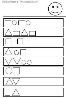 Vormen veel werkbladen --> werkbladen wel aanpassen voor kleuters: meer ruimte om te tekenen