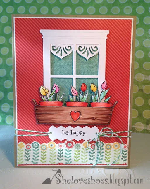 Use a border punch for curtains  really cute pots of tulips