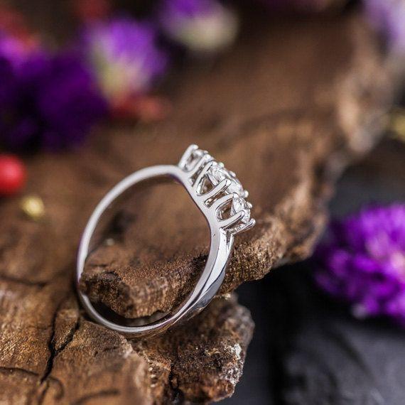 0.55Ct Three Natural White Diamonds set in 18K by ZEHAVAJEWELRY