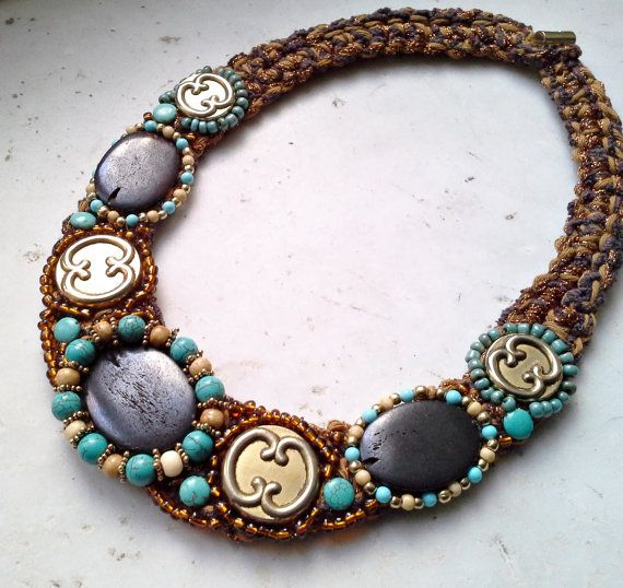 Ethnic necklace, necklace with vintage buttons, necklace with semi-precious stones, turquoise necklace, crochet necklace