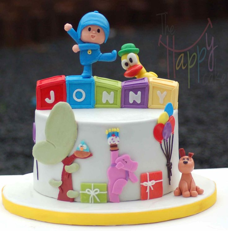 "Pocoyo - 8"" chocolate Pocoyo cake for a 5th birthday celebration"
