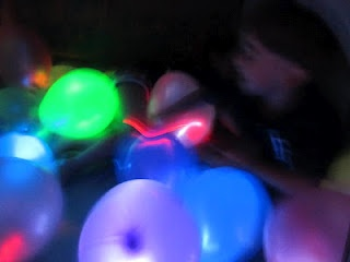 Glow lights inside balloons in the dark!!