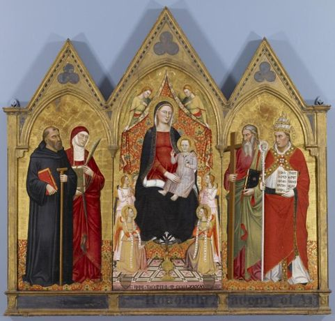 Object Title: Madonna and Child with Saints  Date: 1391  Artist: Jacopo di Cione  Active: Italian, active 1365 - 1398  Medium: Tempera, gilding on panel