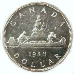 1948 Canadian silver dollar – The rarest Canadian silver dollar in circulation is the 1948 Canadian silver dollar. It had a mintage of as low as 18,600.